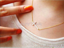 2015 New Gold Silver Horizontal Sideways Cross Necklace Side ZY
