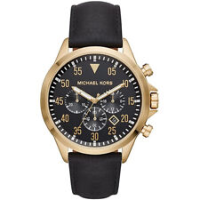 Michael Kors Men's Gage Chronograph Gold-Tone Leather Strap Watch MK8618