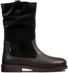 BNIB Clarks Girls Astrol Rise Girls Black Leather Waterproof Boots F Fitting