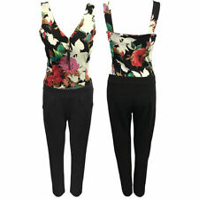 Polyester V Neck Floral Jumpsuits & Playsuits for Women