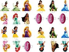 24 Disney Princess Top Half Stand up Edible Rice Wafer Paper Cupcake Toppers