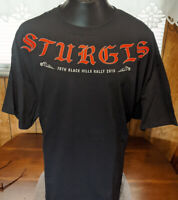 2016 Sturgis Black Hills  Rally 76Th  Anniversary Motorcycle T Shirt Black 3XL