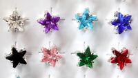 7mm Star Shaped .925 Silver Plated Stud Earrings Birthstone Crystal Gemstone