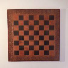 Plateau jeu échec dame fait main Handmade chess game tray LUDO CUIR France