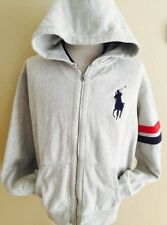 Polo Ralph Lauren BIG PONY Gray Full Zip Hooded Sweatshirts Jackets Mens 2XL XXL