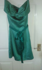 Womens Knee Length Dress - Holly Willoughby - Green - Sleeveless Strapless - 10