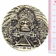 Gold Plated Aztec Mayan Calendar Commemorative Coin Souvenir Collection Gift New