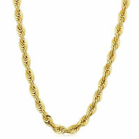 14K Yellow Gold filled Solid Rope Chain Necklace, 4.5mm Wide