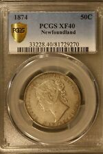 1874 Newfoundland 50 Cents Silver PCGS XF 40      ** FREE U.S. SHIPPING **