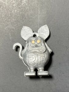 Vintage 60's Rat Fink Ed Roth Gumball Ring Charm Silver With Yellow Eyes
