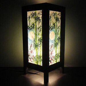 Asian Oriental Sunset Bamboo Japanese Art Wood Bedside Desk or Table Lamp Shades