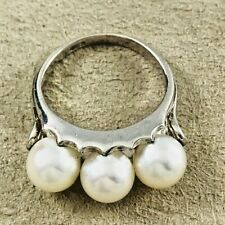 Mikimoto Sterling Triple 7mm Akoya Pearl Ring- Size 5 1/2