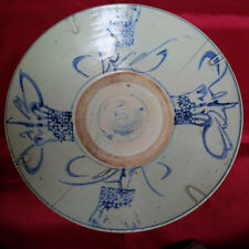 Chinese Antique Blue and White Ornamental Flower Basket Ming Swatow Dish-4