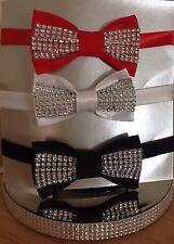Diamante bow tie/ Christmas/dickie bow/black/red/white