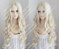 2017 new wig Platinum Blonde wavy curly hair center part bang fashion girl wig
