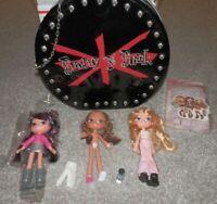 "Bratz clubhouse dolls with black case ""pretty n punk"" RARE mga"