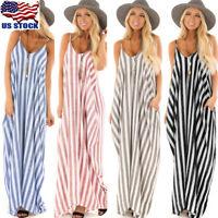 Women Sling Striped Boho Maxi Dress Summer Long Beach Sundress Party Dresses USA