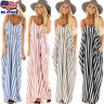 Women Sling Striped Boho Maxi Dress Summer Long Beach Sundress Party Dresses USA