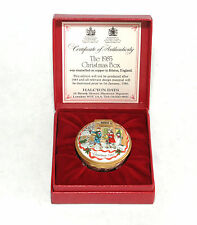 "1985 Halcyon Days Enamel Box - ""Christmas"" In Original Box - Mint Condition"