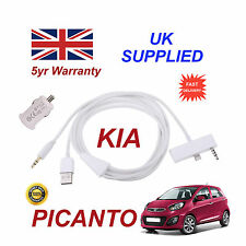 For KIA Picanto iPhone 6 & 6S Plus USB & 3.5mm Aux Audio Cable & Power Adapter