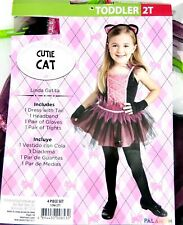 Girls Cutie Cat Halloween Costume Dress with Tail Headband Gloves Tights Size 2T