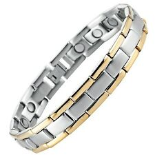 Men's Golf Link Bracelet 316L Stainless Steel Magnetic Therapy, Gold, Silver