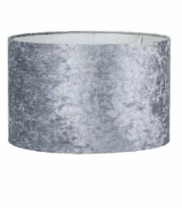 Grey Crushed Velvet Light Ceiling Pendant Lamp Shade NEW