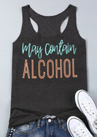 Women Top Tee Shirt Tank May Contain Alcohol Plus Size S 3XL NEW Summer Outdoor
