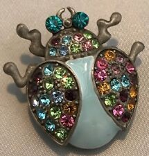 Vintage Enamel Multi Colour Crystal Bug Brooch