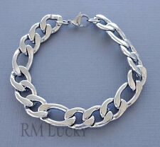 "Men Stainless Steel Figaro Bracelet 12mm heavy link chain 8.5"" Lobster claw b21"