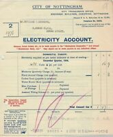 City of Nottingham 1934 Electricity Account Domestic Paid Receipt Ref 34173