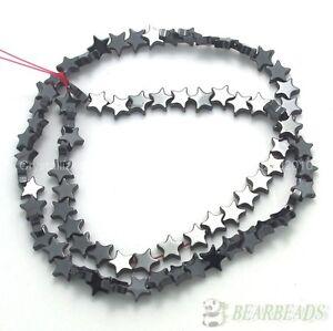 "Natural Jet Hematite Gemstones Flat Star Spacer Loose Beads 6mm 8mm 10mm 16"""
