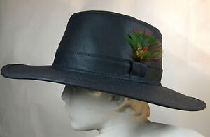 New Vintage Original Classic Wax Cotton Country Bush Hat Navy Blue XS S M L XL