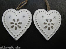 Pair 2 Vintage Hanging Heart Door Decoration Metal Shabby Chic Cream New 6x5cm