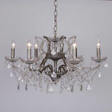 French Style Silver 6 Arm Branch French Shallow Cut Glass Chandelier