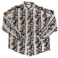 Men's Vintage Goouch Rayon Longsleeve Button Up Shirt Size Medium Paisley Black
