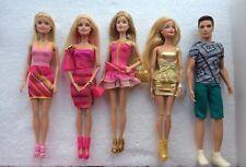 Paquete De 5 Mattel Barbie Fashionistas Glam Inc. estilo muñecas y Ken-ropa y bolsos