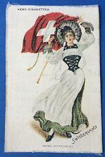 New listing Switzerland Girl Nebo Cigarettes Advertising Silk Original Antique