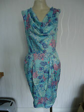 LADIES TURQUOISE PRINT COWL TIE BACK DRESS BY CLOSET SIZE 8 UK NEW