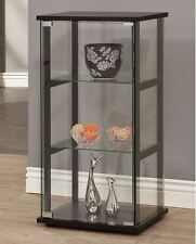 Curio Cabinets With Glass Doors Black Display Case Collectibles 3 Shelves Shelf