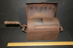 Antique tin Chestnut Roaster or Coffee Bean Roaster with hand turned drum