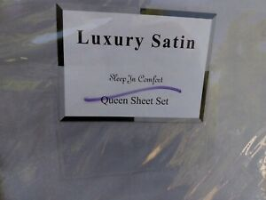 New Luxury Satin Solid Sheet Set Queen Silver Gray Shiny 100% Polyester