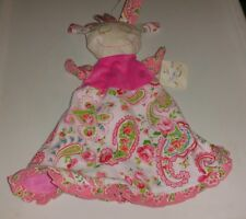 Maison Chic Doll Pink Paisley Floral Cloth Puppet Rattle Security Blanket Baby