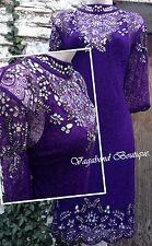 Exquisite Lavishly Embellished MONSOON *Crystal* plum purple lace tunic dress 14