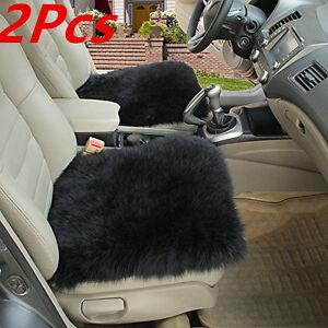 2XCar Seat Breathable Warm Soft Covers Chair Cushion Genuine Sheepskin Long Wool