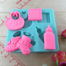 Baby Silicone Mold For Fondant Cake bottle shoes shaped Candy Pastry Mould