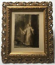 Dessin ancien d'après Rembrandt, Monogramme, Lavis d'encre, Encadré, XIXe