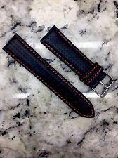 22mm Carbon Fiber Watch Band Wrist Strap Black Leather / Red Stitch FREE SHIP