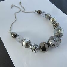 CHUNKY STATEMENT METALLIC SILVER & CLEAR GRADUATED CHRISTMAS XMAS BEADS new