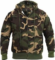 Mens Woodland Camouflage Zipper Sweatshirt Camo Hoodie Thermal Lined Warm Thick